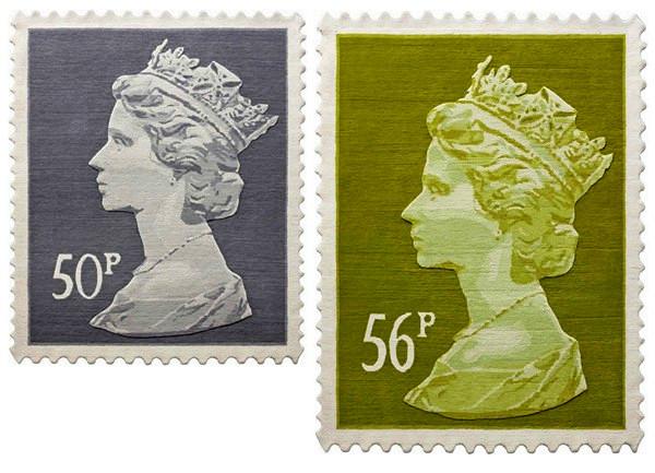 Une série de tapis design sous la forme d'un timbre-poste de Tapis Stamp