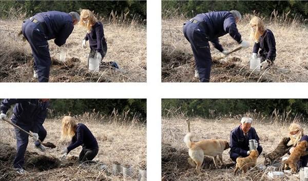 Hilda Hellstrоm и житель зараженной зоны Naoto Matsumura в процессе добывания радиоактивной земли для проекта