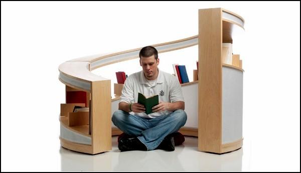 Nautilus shelving system, книжное святилище от Алисии Бастиан (Alicia Bastian)