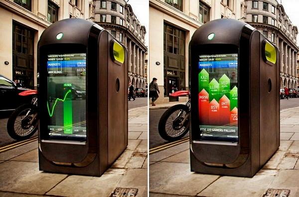 Лондонские урны, которые покажут новости, погоду, биржевые сводки