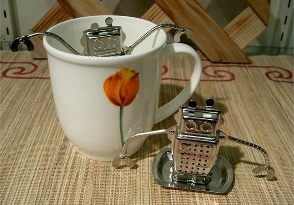 Robot Tea Infuser, стальной блестящий робот-заварник