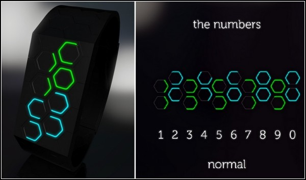 Часы с цифрами-шестиугольниками. Концепт Hexagons LED watch