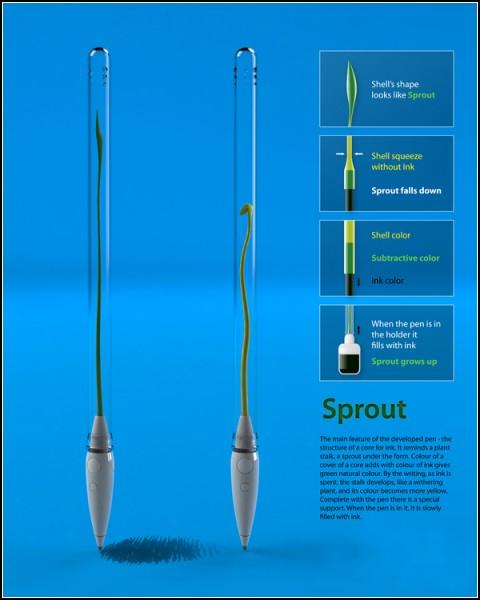 Ручка-росток Sprout pen. Концепт Игоря Лобанова