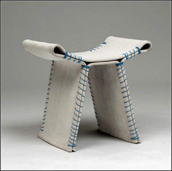 Проект необычных сидений из бетона и ткани Stitching Concrete Stool