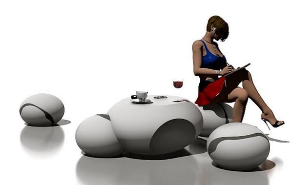 Концептуальная мебель Stone Table, похожая на речную гальку