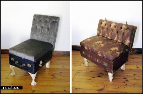 И еще одна интересная идея использования старых чемоданов - винтажный...