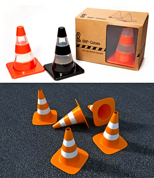 Специи в, как люди привыкли выражаться, дорожных «пирамедках». Дизойнерские шейкеры Traffic Cone S&P Shakers