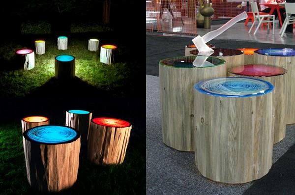 Пеньки-светильники Tree Ring Lights. Необычные табуреты с подсветкой от Judson Beaumont