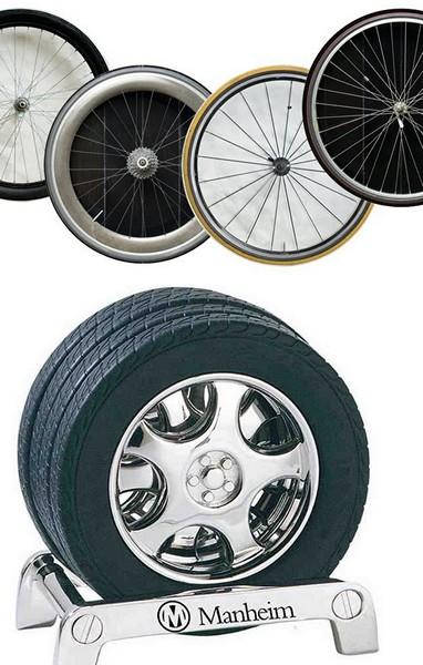 Подставки в виде автомобильного и велосипедного колеса