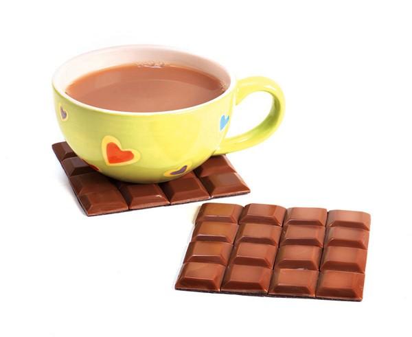 Подставки для чашек в виде плитки шоколада