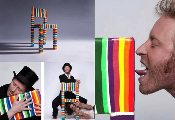 Разноцветный стул-леденец