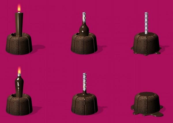 Шоколадная свеча как начинка для кекса