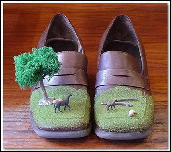 Туфли с зеленью