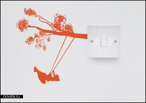 Виниловые наклейки Electricity series для декора розеток и выключателей