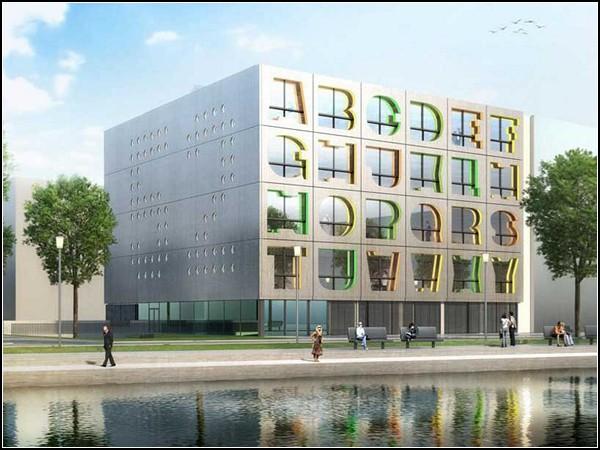 Буквенный фасад Alphabet Building в Амстердаме