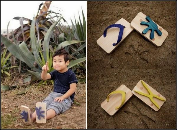 Ashiato, детские деревянные сандалии со следами животных и птиц
