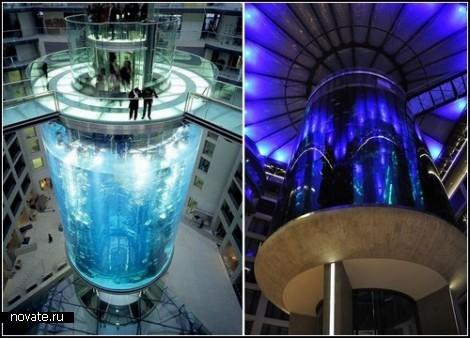 AquaDom. Лифт внутри аквариума