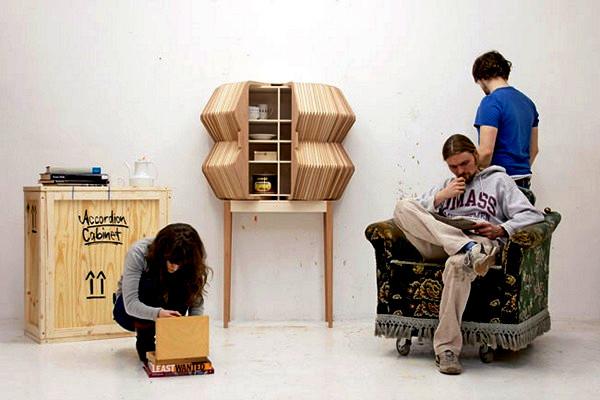 Accordion Cabinet, дизайнерский шкаф-аккордеон из *деревянного текстиля*