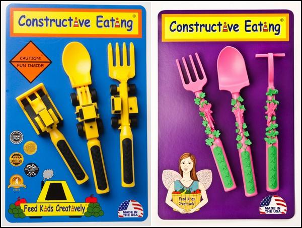 Детские столовые приборы Constructive Eating для маленьких строителей и огородников