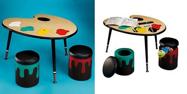 Детский стол для творчества в виде палитры и баночек с краской