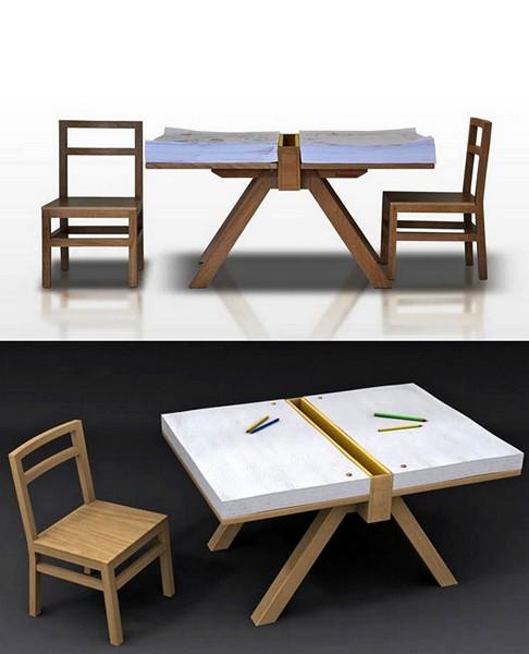 Minimalist Drawing Table, минималистичный столик с бумажной столешницей