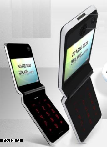 Телефон выполнен в формфакторе раскладушки, которая в разложенном виде