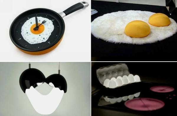 Обзор дизайнерских предметов на тему яичницы
