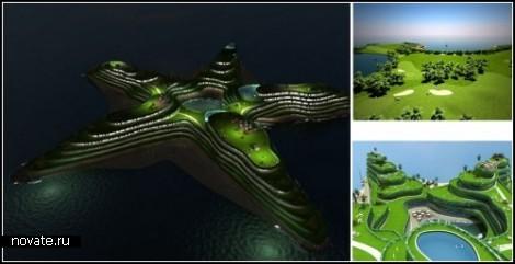 Плавучий остров-звезда для архипелага Мальдивы