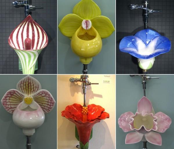 Писсуары, сделанные в виде цветов