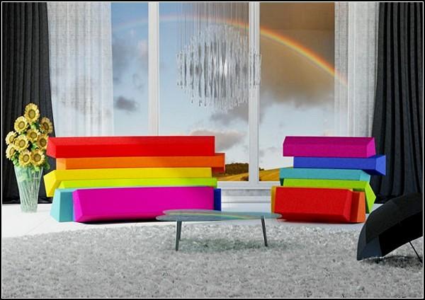Iris - разноцветный диван из трех кресел