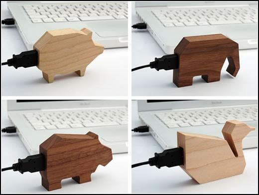 Деревянный USB-зверинец