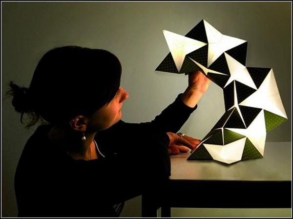 Оригами лампа из светодиодной бумаги