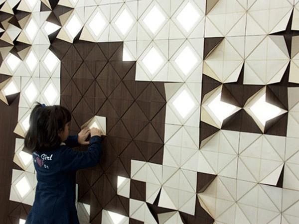 Светящаяся стена-оригами Light Form