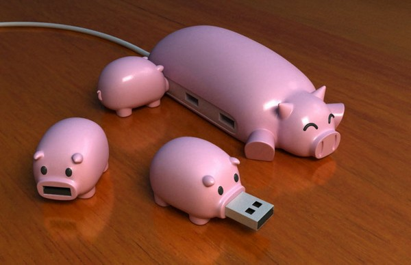 Pig Buddies, набор из USB-флешек и хаба в виде поросят
