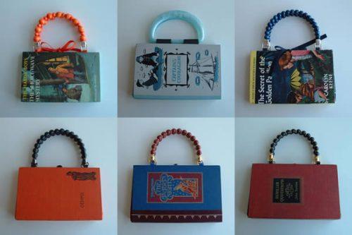 И еще неизвестно, какая из этих жизней будет более увлекательной.  Вот - плоские сумочки из старых книг.