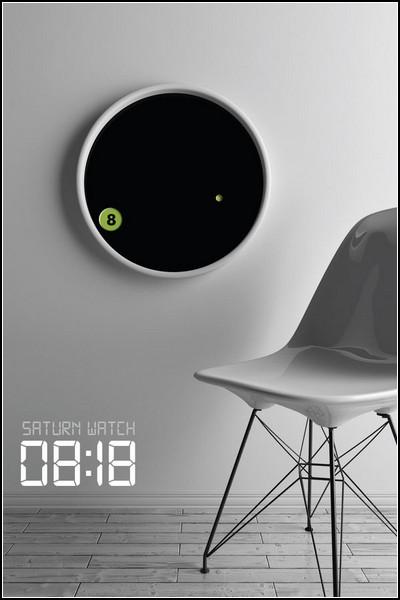 Креативные настенные часы The Saturn Clock