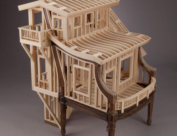 Арт-объект Sit Stay от Теда Лотта. Креативное архитектурное кресло из дерева