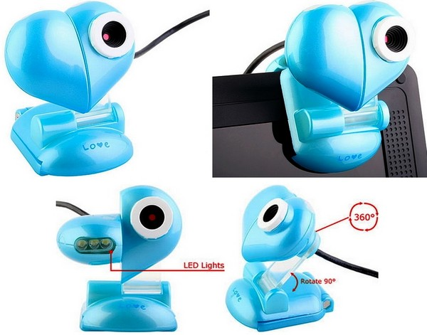 Веб-камера в виде голубого сердца