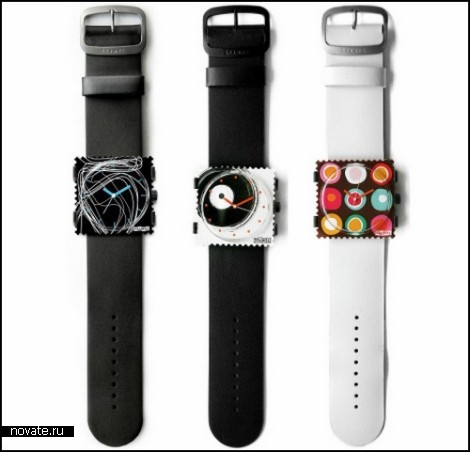 Липкие часы-марки S.T.A.M.P.S. от компании Swatch