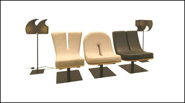 Мебель-алфавит и светильники-знаки из коллекции Spell It Out
