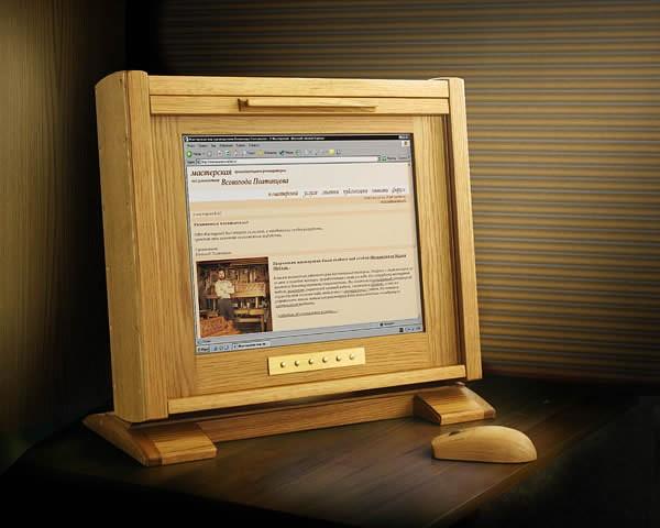 Компьютер с кожухом из чистого дерева