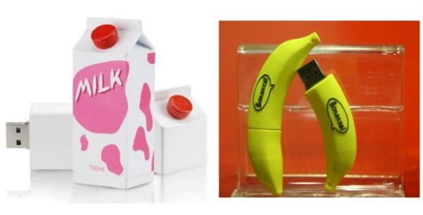 Аппетитные флешки в виде банана или коробочки молока