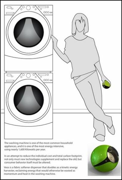 Емкость для стирального кондиционера Veos преобразует кинетическую энергию в электричество