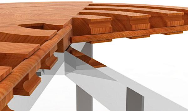 уникальный круглый раздвижной стол Rotension выполненный в виде