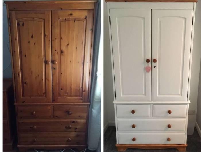 Старый шкаф до и после реставрации