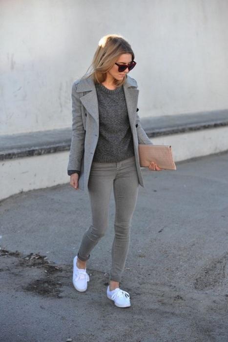 Серый цвет редко помогает создать стильный образ. / Фото: pinterest.ru