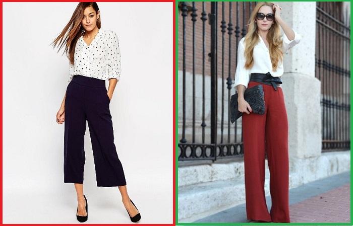 Вместо укороченный широких брюк лучше надевать палаццо