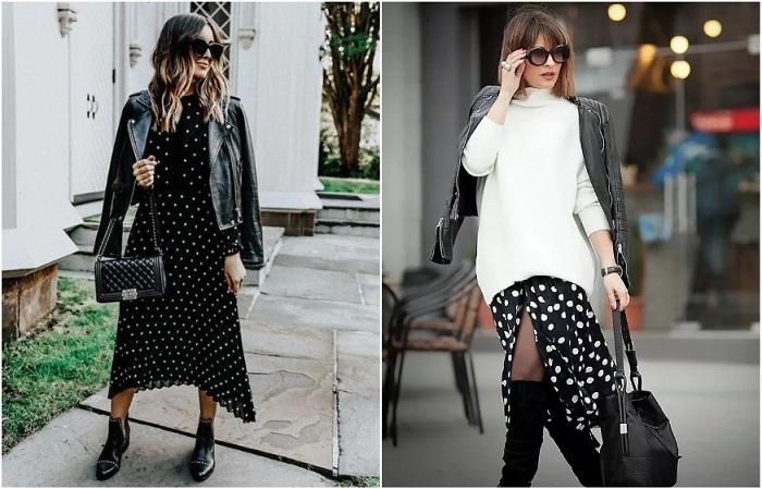 Платье в грох можно носить с курткой или свитером