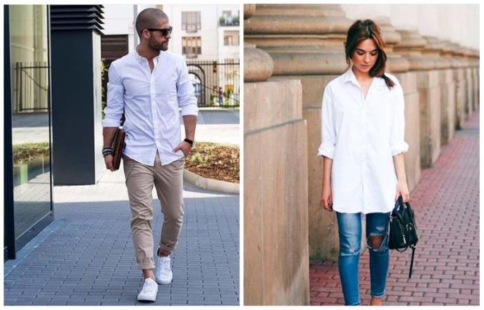 Белая рубашка отлично сочетается с джинсами