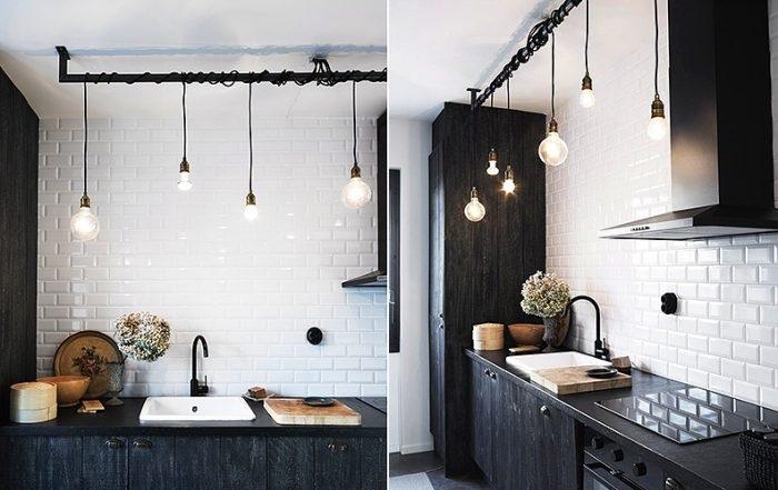 Оригинальные светильники в интерьере кухни. / Фото: ourcosyhome.ru